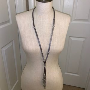 NWT WHBM SILVER LEATHER TASSEL PENDANT NECKLACE